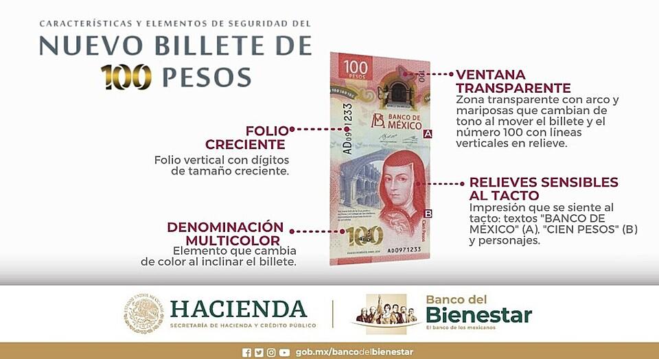 Nueva Imagen Billete de 100 pesos Mexicanos - Hacienda